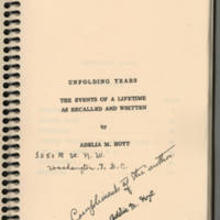 """""""""""Unfolding Years: The Events of a Lifetime as Recalled and Written by Adelia M. Hoyt"""""""""""