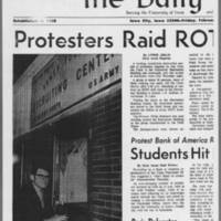 "1971-02-12 Daily Iowan Article: """"Protesters Raid ROTC; One Arrest"""" Page 1"