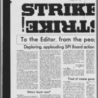 "1970-05-13 Daily Iowan Editorial: """"Strike!"""" Page 1"
