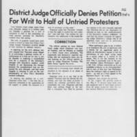 "1971-01-13 Daily Iowan Article: """"District Judge Officially Denies Petition For Writ to Half of Untried Protesters"""""