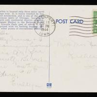 1944-07-11 Postcard - 'Belmont Harbor' - back