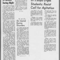 "1971-05-11 Iowa City Press-Citizen Articles: """"39 Arrests During Night"""" """"Six Injured During Disorders"""" """"UI's Boyd Urges Students: Resist Call for Agitation"""""