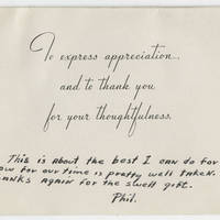 1943-11-11 Thank you card from John P. Armstrong to Mrs. Ruth Hall Page 2