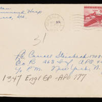1945-10-21 Evelyn Burton to Carroll Steinbeck - Envelope