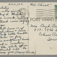 1942-02-26 Mary Clark to Laura Hutchison Davis - Back