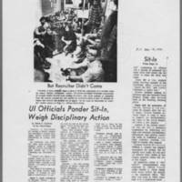 "1970-12-10 Iowa City Press-Citizen Article: """"UI Officials Ponder Sit-In, Weigh Disciplinary Action"""""