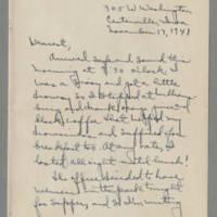 1941-11-17 Laura Davis to Lloyd Davis Page 1