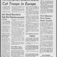 "1971-05-13 Daily Iowa Article: """"University Residence Halls Quiet"""" Page 4"