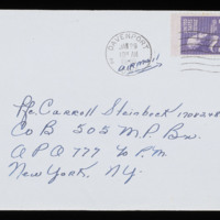 1946-01-25 Evelyn Burton to Carroll Steinbeck - Envelope