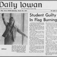 "1971-03-20 Daily Iowan Article: """"Student Guilty In Flag Burning"""""