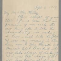 1917-09-08 Jessie M. Walton to Mrs. Francis N. Whitley Page 1