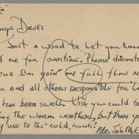 1945-11-27 Joseph McElhinney, Jr. to Dave Elder Postcard