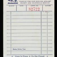 Restaurant order pad sheet