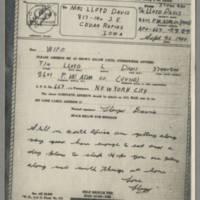 1943-09-26 Lloyd Davis to Laura Davis