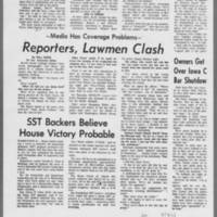 "1971-05-12 Daily Iowan Articles: """"Dorm Protesters Gassed by Police"""" """"Police Charge Crowd Gathered Near Dorms"""" Page 3"
