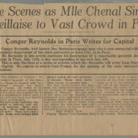 "1916-07-15 Des Moines Capital Clipping: """"Indescribable Scenes as Mlle Chenal Sings the Marseillaise to Vast Crowd in Paris Theater"""" by Conger Reynolds Page 1"