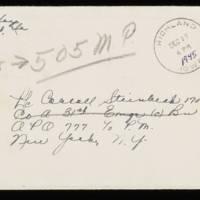 1945-12-26 Evelyn Burton to Carroll Steinbeck - Envelope