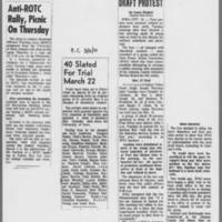 "1971-03-03 ICPC Article: """"Anti-ROTC Rally, Picnic On Thursday"""" 1971-03-08 ICPC: """"40 Slated For Trial March 22""""; DMR Article: """"4 Arrested In Draft Protest"""""