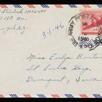 1946-03-01 Carroll Steinbeck to Evelyn Burton - Envelope