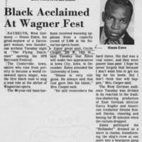 1978-07-26 Article: Black Acclaimed At Wagner Fest""""