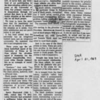 "1969-04-21 Des Moines Register Article: ""Black Athletes Statement"""