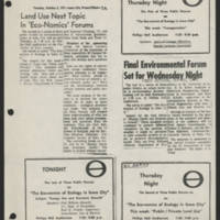1971-09-27 Daily Iowan Article: 'Land Use Next Topic In 'Eco-Nomics' Forums'
