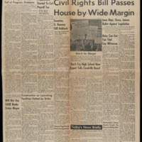 "1964-02-11 Daily Iowan article: """"Civil Rights Bill Passes House by Wide Margin"""" Page 1"