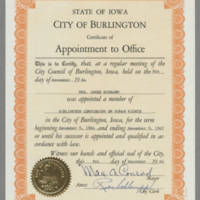 1964-11-09 Mrs. James Schramm, Appointment to Burlington Commission on Human Rights
