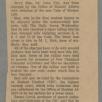 1968-11-28 Article: 'Sies Charged With Violating Student Code' Page 1