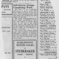 "1950-05-05 Burlington Hawkeye Gazette Article: ""Self-Survey Groups Completing Work"""