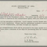1964-02-12 L.R. Brcka Travel Authorization for Richard Lloyd-Jones