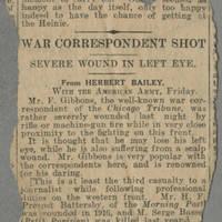 "Clipping: """"War Correspondent Shot"""" Page 1"