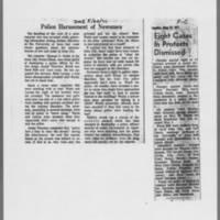 "1971-05-20 Des Moines Register Article: """"Police Harassment of Newsmen"""" ICPC Article: """"Eight Cases In Protests Dismissed"""""