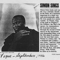 "September, 1986 Vogue: """"Simon Sings"""""