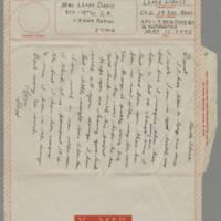 1943-05-11 Lloyd Davis to Laura Davis Page 1