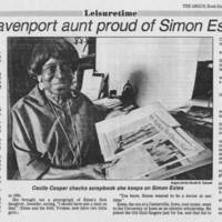 "1986-04-20 Article: """"Baritone's Davenport aunt proud of Simon Estes' success"""""
