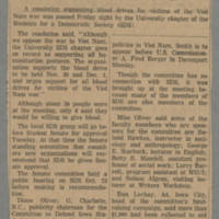 1965-10-30 Article: 'Local SDS Supports ROTC Blood Drive' Page 1