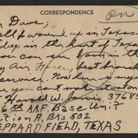 1945-06-27 Pvt. Harold W. Jarvis to Dave Elder Postcard