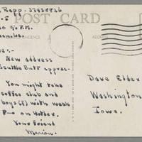 Marion Rapp to Dave Elder Postcard back