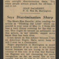 "1950-05-20 Burlington Hawkeye Gazette Article: ""Protest from Negroes"""
