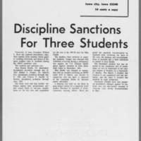 "1971-07-12 Daily Iowan Article: """"Discipline Sanctions For Three Students"""""