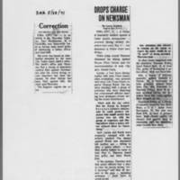 "1971-05-29 Des Moines Register Article: """"Drops Charge On Newsman"""""