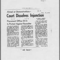 "1970-12-09 Iowa City Press-Citizen Article: """"Court Dissolves Injunction"""" Page 1"