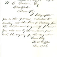 John L. Coffin, land agent in Davenport, Iowa, correspondence with land speculator Thomas Clark Durant in New York, part 3, 1874