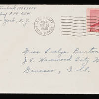 1945-09-23 Carroll Steinbeck to Evelyn Burton Envelope