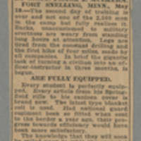 "1916-05-19 Des Moines Capital Clipping: """"14-Hour Grind Fails To Wring Kick From Men At Ft. Snelling"""" Page 1"