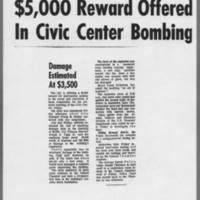 "1971-05-08 Iowa City Press-Citizen Article: """"$5,000 Reward Offered In Civic Center Bombing"""""