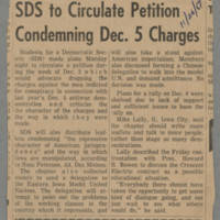 1969-11-26 Article: 'SDS to Circulate Petition Condemning Dec. 5 Charges' Page 1