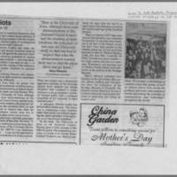 "1999-05-08 Iowa City Press-Citizen Article: """"Readers share more memories of UI riots"""" Page 2"