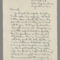 1942-08-10 Laura Davis to Lloyd Davis Page 1